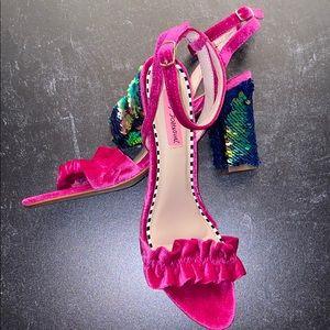 Betsy Johnson Velvet & Sequin Heeled Sandals